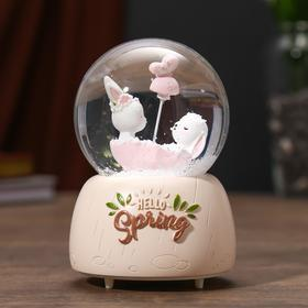 "Souvenir Polyresin water globe light music ""Leverets in the boat"" MIX 12х8х8 cm"