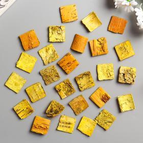"""Набор декоративных элементов из коры дерева (30шт) """"Квадратики"""" 3 см желтый"""