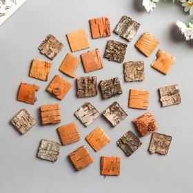 """Набор декоративных элементов из коры дерева (30шт) """"Квадратики"""" 3 см нат/дерево"""