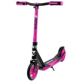 Самокат нескладной NOVATRACK POLIS сталь/пластик, эргономичный руль Y-типа, цвет чёрный/розовый