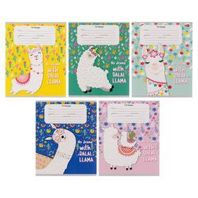 Тетрадь 12 листов в клетку «Счастливая лама 1», обложка мелованный картон, блок офсет, МИКС