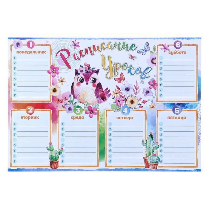 """Плакат """"Расписание уроков"""" птичка, цветы, А4 *"""