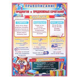 """Плакат """"Правописание предлогов и предложных сочетаний"""" А2"""