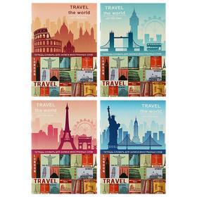 Тетрадь для записи иностранных слов А6, 32 листа «Цветные столицы», обложка мелованный картон, блок офсет, МИКС Ош