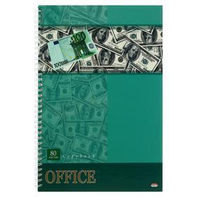 Записная книжка А4, 80 листов на гребне «Деньги», твёрдая обложка, глянцевая ламинация