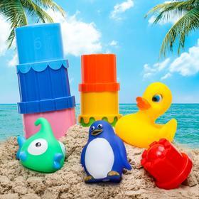 """Набор для купания """"Водные забавы"""":  кубик, резиновые игрушки + пирамидки 7 шт."""