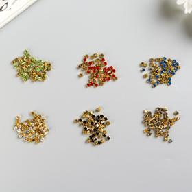 Стразы в цапах 4 мм, 6 цветов, золото