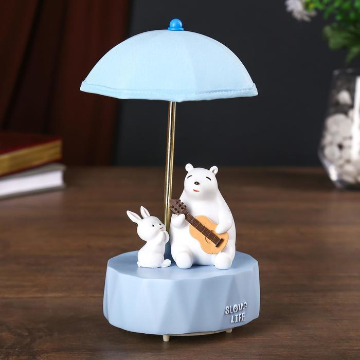"""Сувенир полистоун свет, музыка """"Белый мишка с зайкой под зонтиком"""" МИКС 21х12х12 см"""