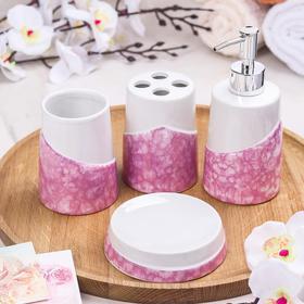 "Bath set ""Home"" 4 items (Dispenser, soap dish, 2 cups), color: pink"