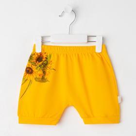 Шорты детские «Подсолнух», цвет жёлтый, рост 74 см