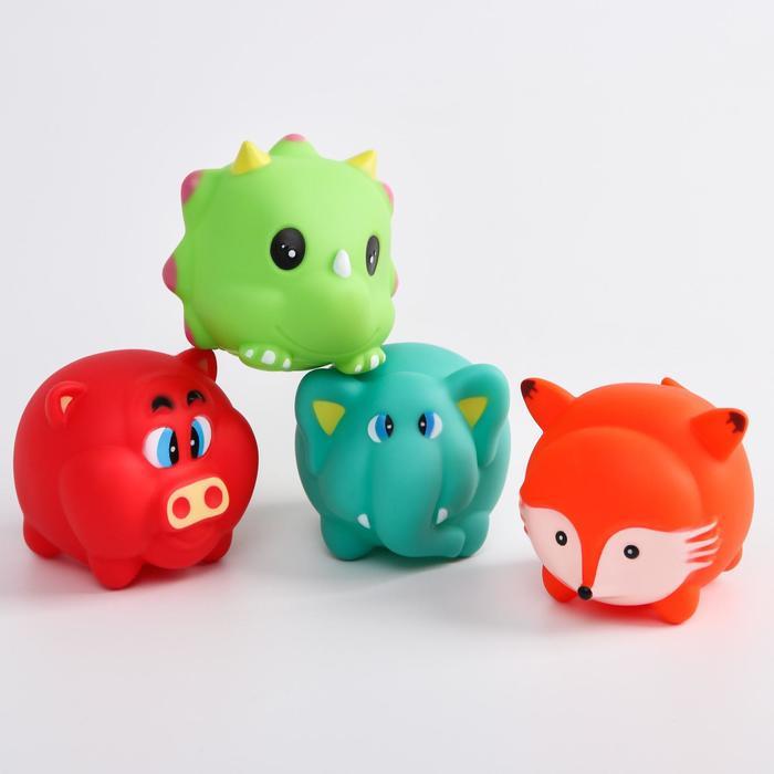Набор игрушек для купания «Малыши», 4 шт, с пищалкой, виды МИКС - фото 105536131