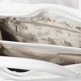 Сумка женская, отдел на молнии, 2 наружных кармана, длинный ремень, цвет белый - фото 54181