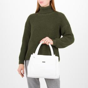 Сумка женская, отдел на молнии, 2 наружных кармана, длинный ремень, цвет белый - фото 54182
