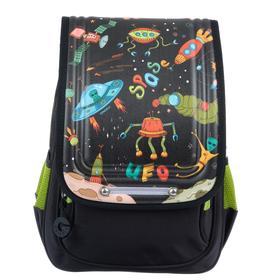 Рюкзак школьный эргоном.спинка Grizzly RAk-091 35*26*15 мал, чёрный RAk-091-1_1