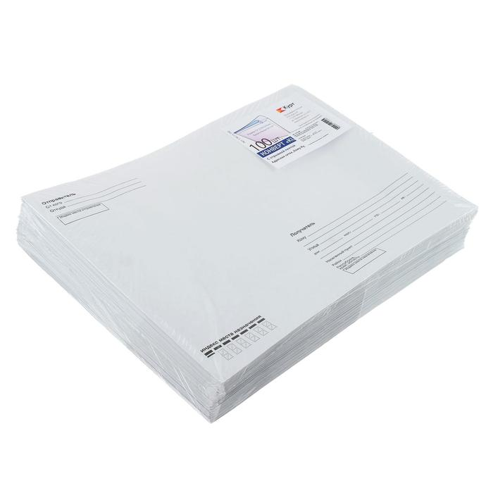 """Набор конвертов С4, 229 х 324 мм, """"Кому-куда"""", без окна, силиконовая лента, внутренняя запечатка, 90 г/м2, 100 штук"""