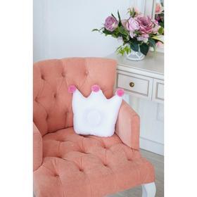 Подушка детская анатомическая Крошка Я «Корона» 32х25 см, цвет белый/розовый
