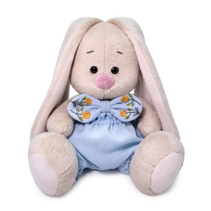 Мягкая игрушка «Зайка Ми», в голубых трусах с бантом, 15 см - фото 4468023