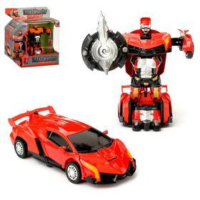 Робот-трансформер «Автобот», инерционный, с металлическими элементами, цвет красный