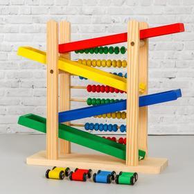 Детская деревянная игрушка 2 в 1 «Автотрек + счёты» 31×28×9,5 см