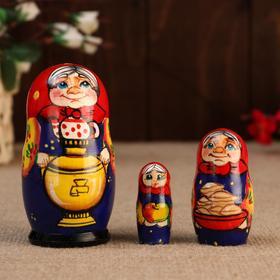 "Matryoshka ""Grandma with a samovar"", 3 puppet-10 cm"