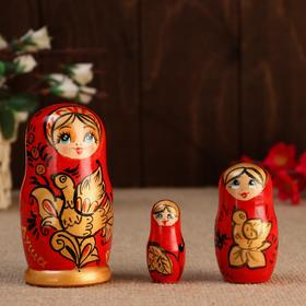 """Матрешка """" Душа России"""",3 кукольная, красный фон, 10 см"""