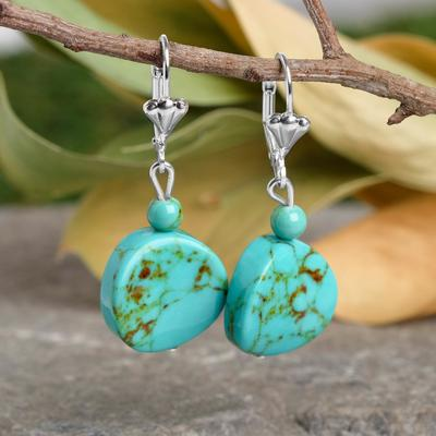 "Pellet earrings twisted wire with ball No. 6, ""old Turquoise"""