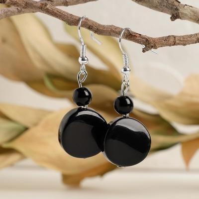 """Pellet earrings twisted wire with ball No. 6 """"black agate"""""""
