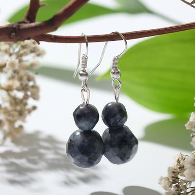 "Earrings ball №8+№12 faceted ""labradorite"""