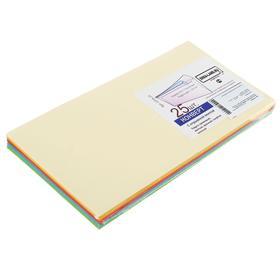 Набор конвертов С65, 114 х 229 мм, без окна, силиконовая лента,120 г/м2, 5 цветов МИКС, 25 штук