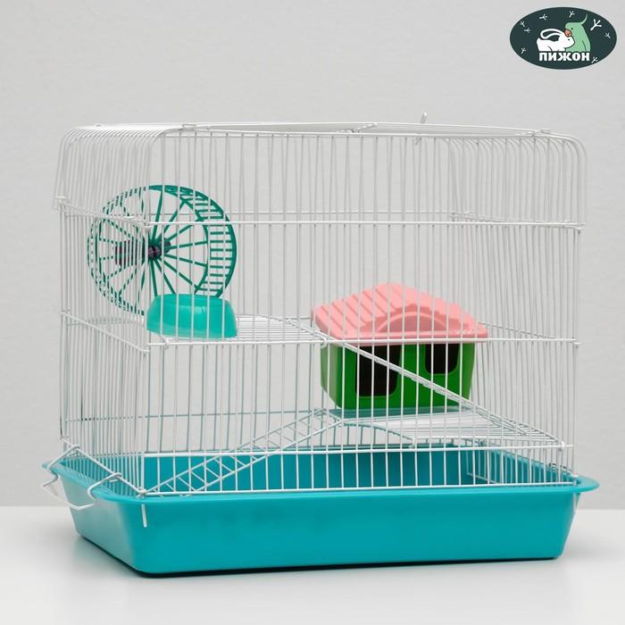 """Клетка для грызунов """"Пижон"""" №3, с 2-я этажами, укомплектованная, 33 х 24 х 28 см, бирюзовая"""