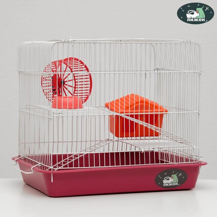"""Клетка для грызунов """"Пижон"""" №3, с 2-я этажами, укомплектованная, 33 х 24 х 28 см, рубиновая"""