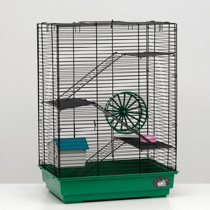 """Клетка для грызунов """"Пижон"""" №5, с 3 этажами, укомплектованная, 41 х 30 х 58 см, изумрудная"""