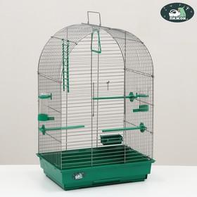"Клетка для птиц ""Пижон"" №101, хром , укомплектованная, 41 х 30 х 65 см, салатовая"