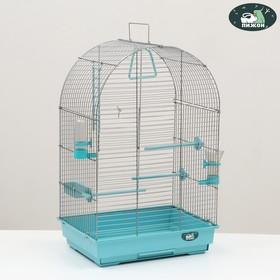 "Клетка для птиц ""Пижон"" №101, хром , укомплектованная, 41х30х65 см, бирюзовая"