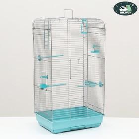 """Клетка для птиц """"Пижон"""" №102, хром, укомплектованная, 41 х 30 х 76 см, голубая"""