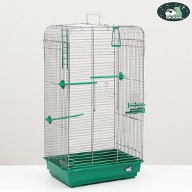 """Клетка для птиц """"Пижон"""" №102, хром, укомплектованная, 41х30х76 см, изумрудная"""