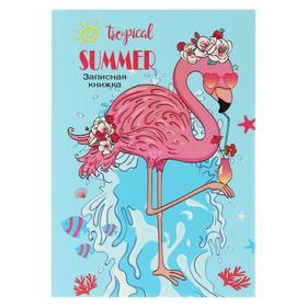 Записная книжка А7, 48 листов «Фламинго с коктейлем», твёрдая обложка, глянцевая ламинация, тиснение лён