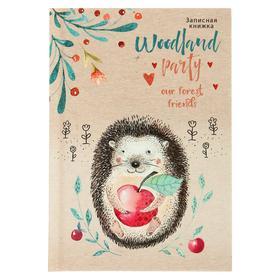 Записная книжка А6, 48 листов «Ёжик с яблочком», твёрдая обложка, глянцевая ламинация, тиснение лён