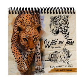 Скетчбук А6, 40 листов на гребне «Дикий леопард», жёсткая подложка, картонная обложка