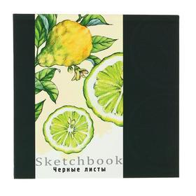 Скетчбук 160 х 160 мм, 64 листа «Лимонная зарисовка», твёрдая обложка, блок чёрная бумага 120 г/м2