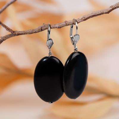 "Earrings oval ""black agate"""