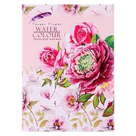 Записная книжка А5, 48 листов «Акварельные цветы», твёрдая обложка, глянцевая ламинация