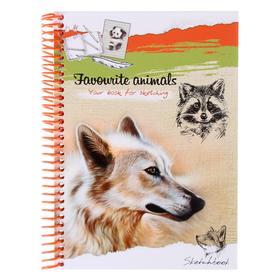 Скетчбук А5, 80 листов на гребне «Белый волк», твёрдая обложка, глянцевая ламинация