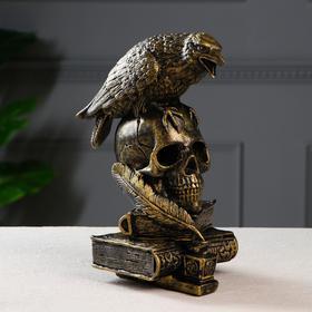 """Копилка """"Ворон на черепе"""", цвет черно-золотой, 28 см"""