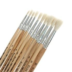 Набор кистей коза круглые 10 штук (№1,2,3,4,5,6,7,8,9,10) с деревянными ручками на блистере   472585