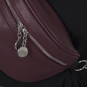 Сумка поясная, отдел на молнии, 2 наружных кармана, цвет бордовый - фото 64784