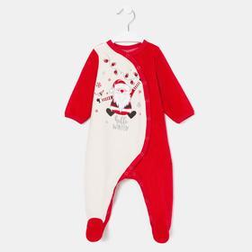 Комбинезон детский, цвет красный/белый, рост 68 см
