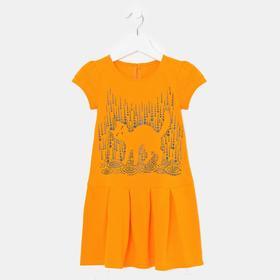 Платье для девочки, цвет оранжевый, рост 98 см