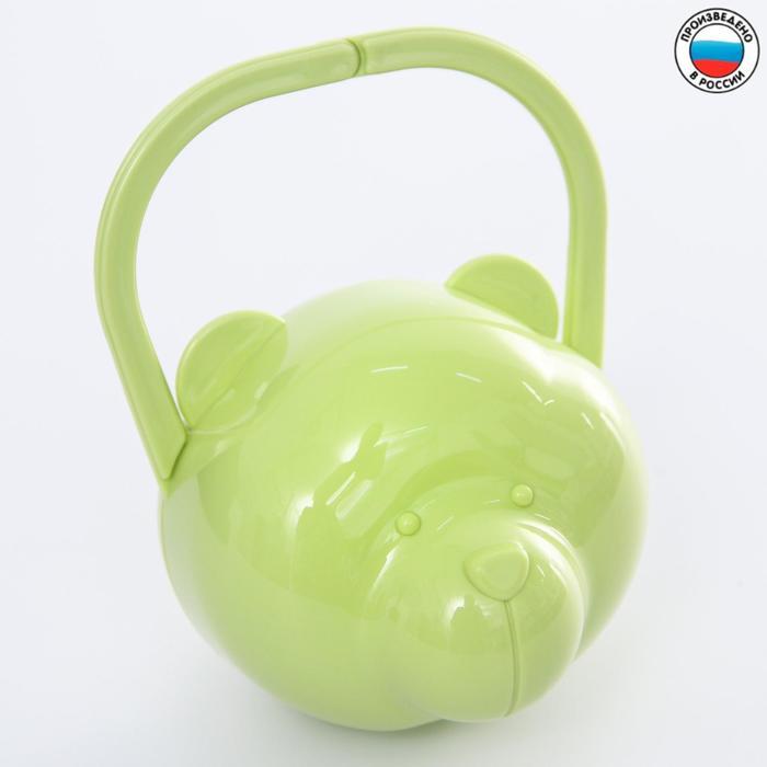 Футляр для детской пустышки «Мишка», цвет салатовый - фото 105542732