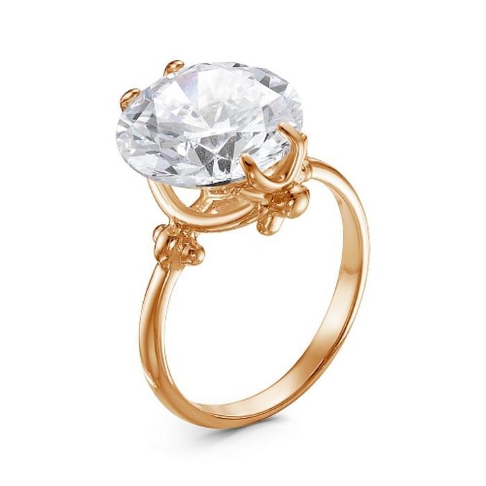 """Кольцо """"Классика"""" круг, позолота, цвет белый, 16,5 размер - фото 492917"""